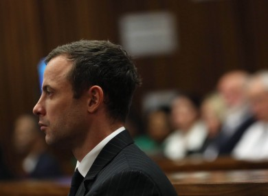Oscar Pistorius in court today.