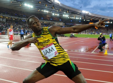 Bolt in his trademark pose.