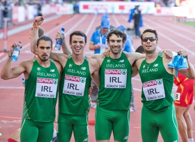 Ireland's Thomas Barr, Brian Murphy, Brian Gregan and Richard Morrissey celebrate setting a national record, also qualifying for tomorrow's final.