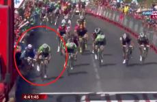 There was a bit of controversy in today's sprint finish at the Vuelta
