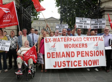 Former Waterford Crystal workers outside the Dáil in 2013.