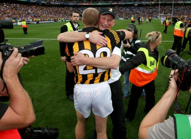 Perfect 10: Cody embraces Henry Shefflin afterwards.