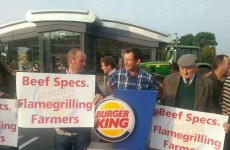 Farmers protest outside Burger King over Irish beef prices