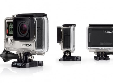 The GoPro Hero4 Black, which can record 4K footage at 30 frames per second.