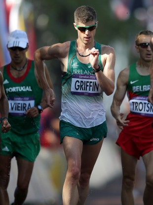 Griffin competing in the 50k walk at London 2012.