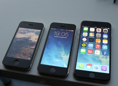 From left to right: the iPhone 4S, 5S and 6.