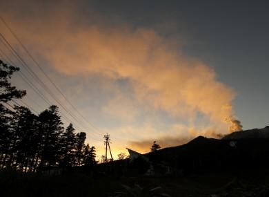Smoke billows from Mount Ontake.