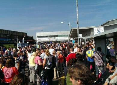The scene at Luton airport this afternoon