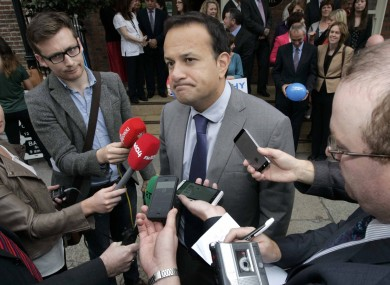 A tight-lipped Leo Varadkar in Dublin this morning
