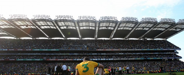 Neil McGee of Donegal appears dejected at the end of the game today.
