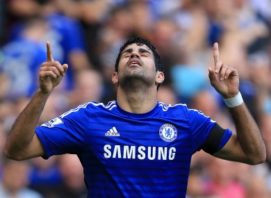 Chelsea's Diego Costa celebrates scoring his side's second goal .