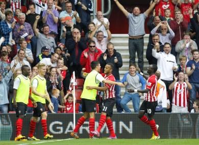 Pelle celebrates with team-mates.