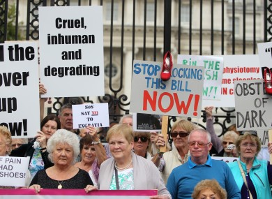 Survivors and supporters at a protest outside the Department of An Taoiseach on Merrion Street before handing in a letter for the Taoiseach.