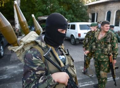 Pro-Russian rebels in Donetsk, eastern Ukraine