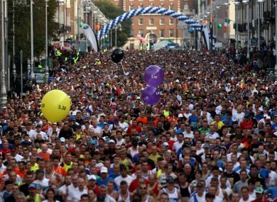 The start line of the Dublin City Marathon is not too far away.