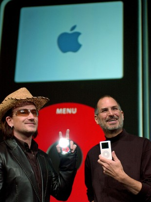 U2 frontman Bono with former Apple CEO Steve Jobs