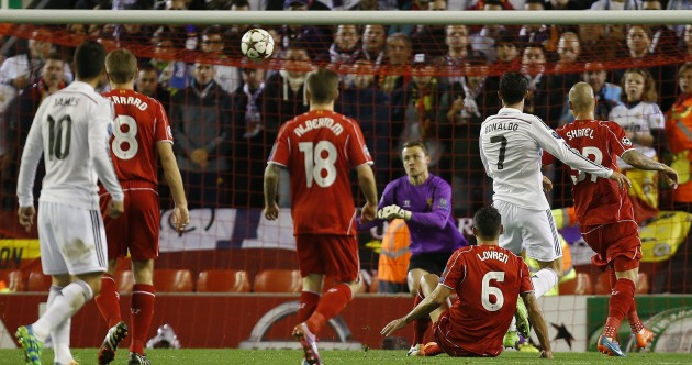 Cristiano Ronaldo scored his first Anfield goal tonight – and it was a bit special