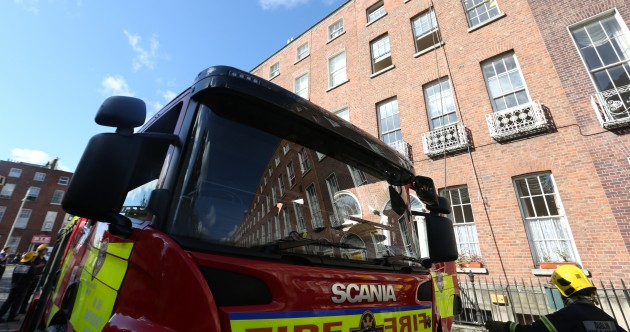 Fire brigade battle fire in Dublin city Georgian building
