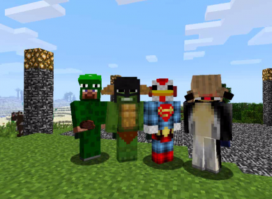 Ryan and Scott Fitzsimons' Minecraft avatars, LittleLizard and TinyTurtle (on the left), as they appear in Minecraft.