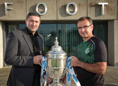 Derry City manager Peter Hutton and Shamrock Rovers boss Pat Fenlon.