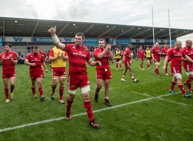Munster thanks their fans at the AJ Bell Stadium on Saturday.