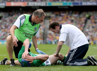 Seamus Hickey after his injury in last year's All-Ireland semi-final.