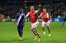 Gibbs and Podolski save Arsenal with a late, late show against Anderlecht