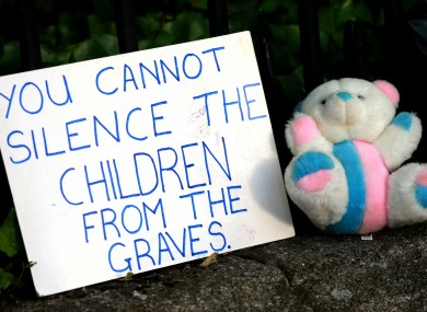 A protester's placard outside Leinster House after news of the Tuam graves was broken.