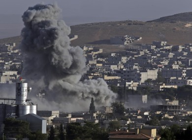 Smoke rises over Kobane