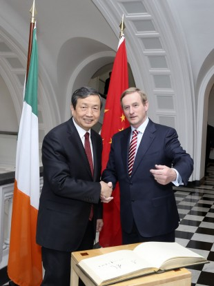 Vice Premier of China Ma Kai shakes hands with Taoiseach Enda Kenny a year ago