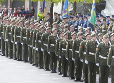 A guard of honour at an event commemorating the 98th anniversary of the Easter Rising.