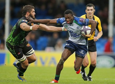 Adeolokun hands off Exter's Don Armand during their Challenge Cup clash last month.