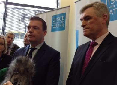 Alan Kelly and John Tierney at Irish Water headquarters today
