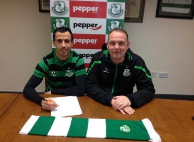Fahey with Rovers chairman Jonathan Roche.