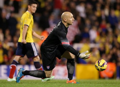 Guzan during Friday's 2-1 defeat to Colombia.