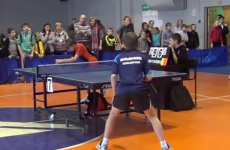Sulking kid pushes table tennis referee off his chair