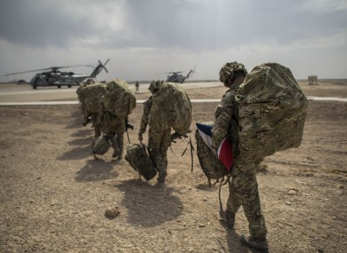The last UK troops leaving Camp Bastion, Helmand Province.
