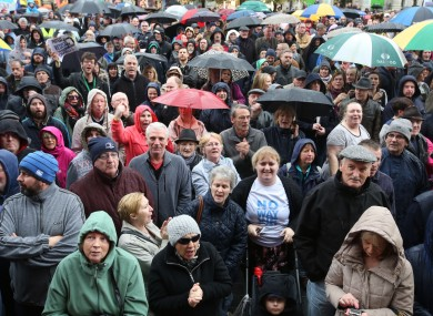 People gather at last weekend's water charge protests.