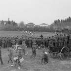 A football match on the Italian front watched by crowds of Allied troops and Italian civilians. <span class=