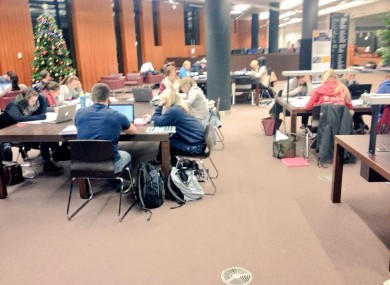 Students in the library last night.