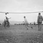 A handmade football net is setup by soldiers for an inter-company match on the Balkan Front on Christmas Day.<span class=