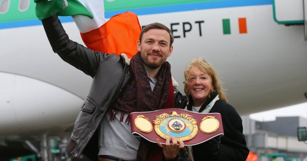 The best pics as world champion Andy Lee touches down in Shannon with some extra luggage