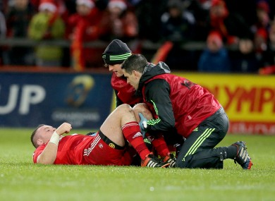 Kilcoyne receiving treatment on Saturday.
