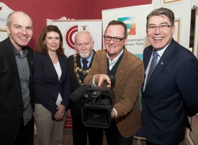 Declan Gibbons, Galway Film Centre; Patricia Philbin, Galway City Council SEO Culture; Mayor of Galway Donal Lyons, David Wilson UNESCO City of Film Bradford, and Gary McMahon, Galway City Council.