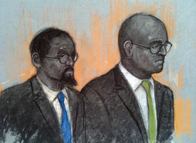 Court artist sketch by Elizabeth Cook of Hasan Mohamed (left) and Dr Dhanuson Dharmasena appearing at Southwark Crown Court in London