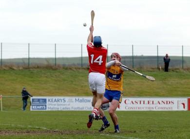 Luke O'Farrell leaps to score Cork's second goal