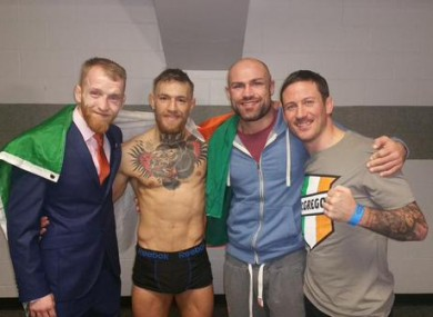 Paddy Holohan, Conor McGregor, Cathal Pendred and coach John Kavanagh.