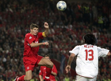 Gerrard leaps to head in the game-changing goal in the 2005 Champions League final.