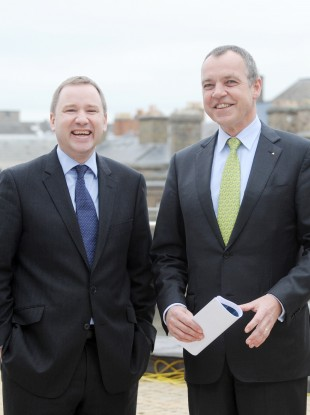 Stephen Kavanagh (left) with current Aer Lingus CEO Christoph Mueller back in 2011.