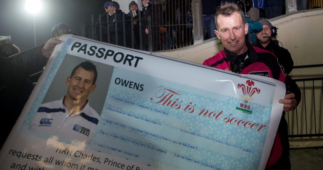 Leinster fans present Nigel Owens with a new passport